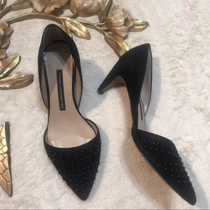 French Connection Black Kodee Grommet D'orsay Pump